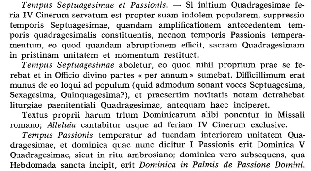 Septuagesima and Passiontide suppressed